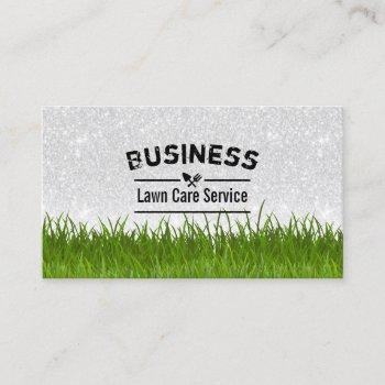lawn care & landscaping service silver glitter business card