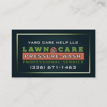 lawn care & pressure wash custom business card
