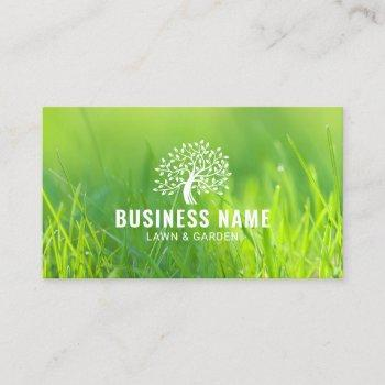 lawn & garden care tree logo green landscaping business card