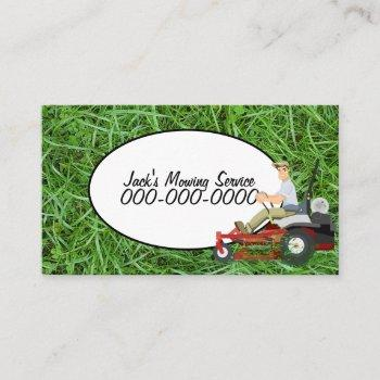lawn mowing-green grass for landscaping service business card