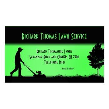 Small Lawn Service Landscape Green Business Card Front View