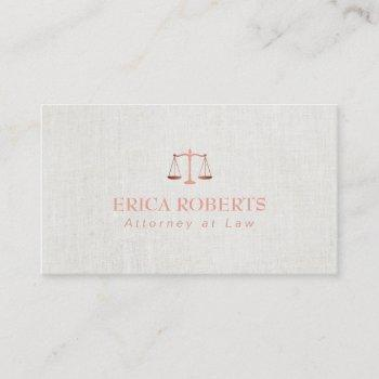 lawyer attorney foil rose gold classy linen business card