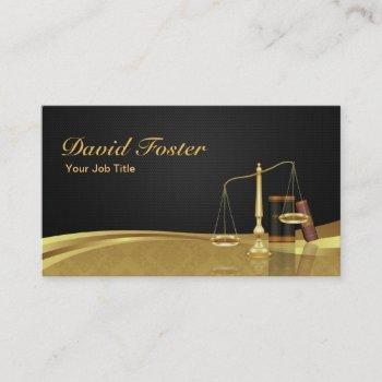 lawyer attorney justice elegant black gold damask business card
