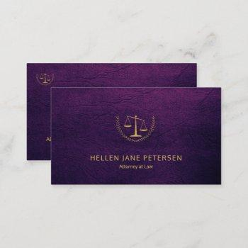lawyer upscale elegant gold purple leather look business card