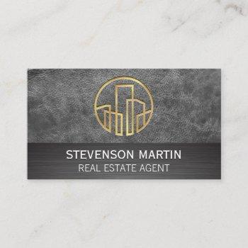 leather and metallic | gold embossed buildings business card