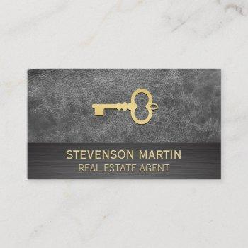 leather and metallic | gold skeleton key business card