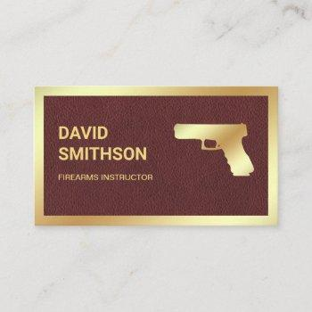 leather gold pistol gun shop gunsmith firearms business card