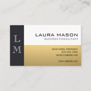 leather gold white business card