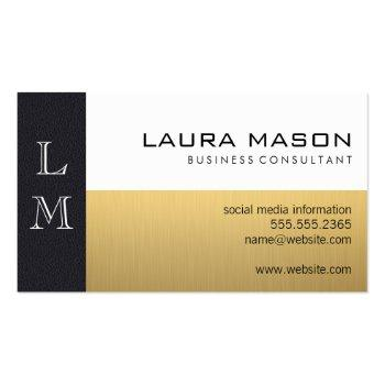 Small Leather Gold White Business Card Front View