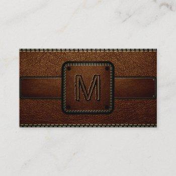 leather look brown business card
