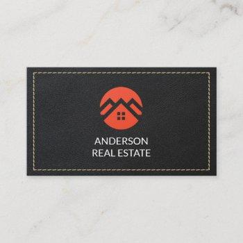 leather stitched | real estate business card