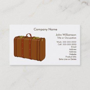 leather suitcase travel theme custom business card
