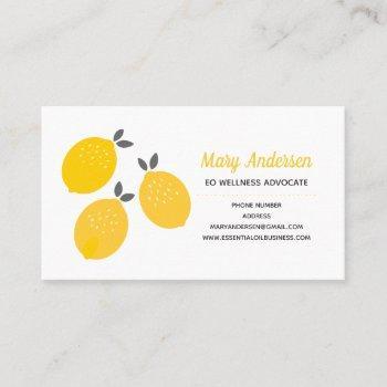 lemon essential oils business cards