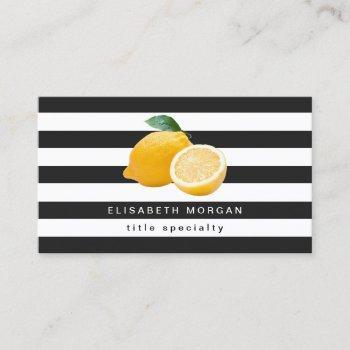 lemon logo black white stripes social media icon business card