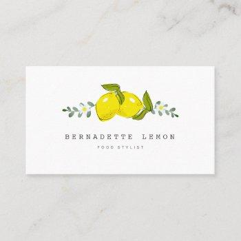 lemon &  white flower simple clean business card