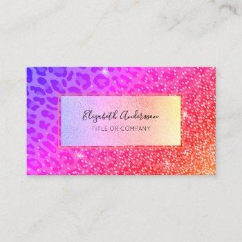 leopard pink purple golden sparkle glam girly business card