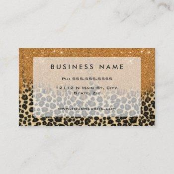 leopard print with gold faux glitter brush stroke business card