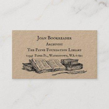librarian archivist books custom business card
