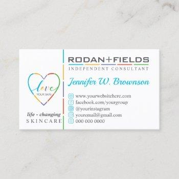 life changing skincare teal logo business card