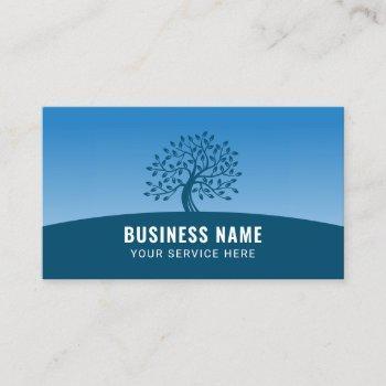 life coach counselor modern blue tree business card
