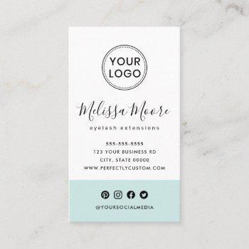 light aqua blue feminine custom logo social media business card