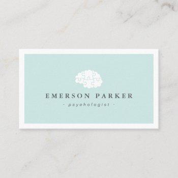 light blue psychologist psychiatrist counselor business card