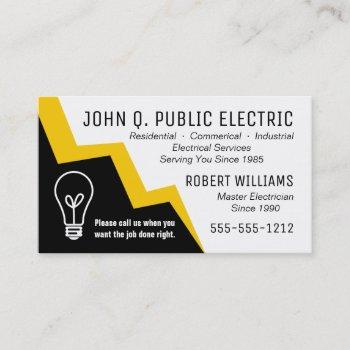 light bulb lightning bolt electrician electrical business card