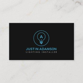 light bulb monogram logo on blk ii for electricans business card