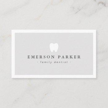 light gray dentist tooth logo modern minimalist business card