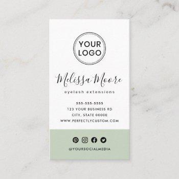 light sage green feminine custom logo social media business card