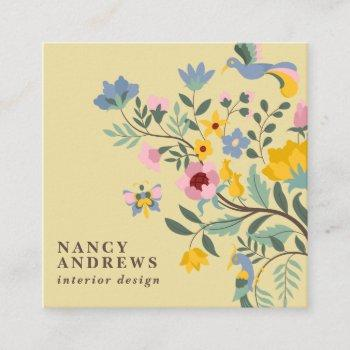 light yellow floral bouquet whimsical illustration square business card