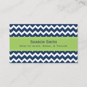 lime blue chevron retro mom calling cards