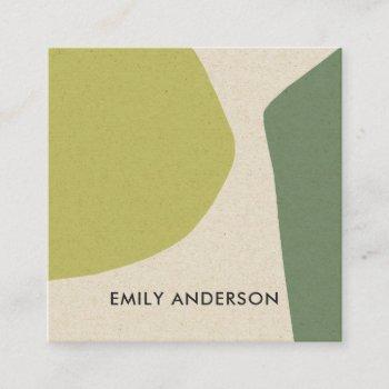 lime green yellow modern rustic abstract artistic square business card
