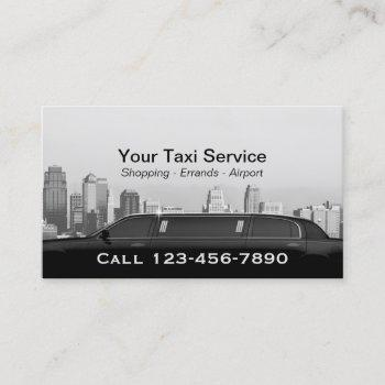 limo & taxi driver modern city professional car business card