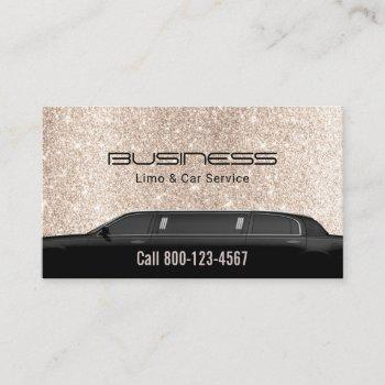 limousine luxury limo & car service gold glitter business card