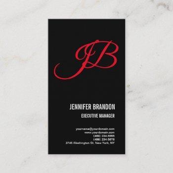 linen black red handwriting monogram minimalist business card