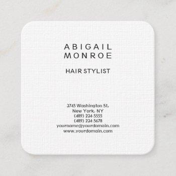 linen modern minimalist professional plain white square business card