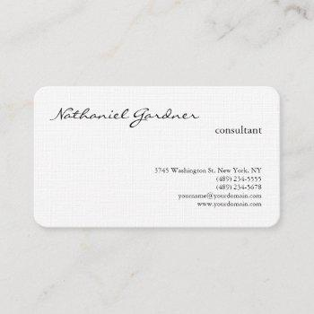 linen trendy handwriting plain creative modern business card
