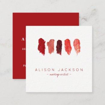 lipstick colors swatches ruby red makeup artist square business card