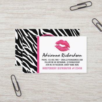 lipstick distributor zebra pink kiss plain back business card