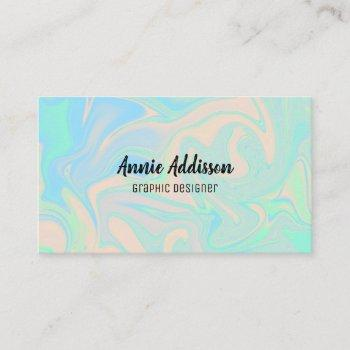 liquid faux holographic iridescent texture business card