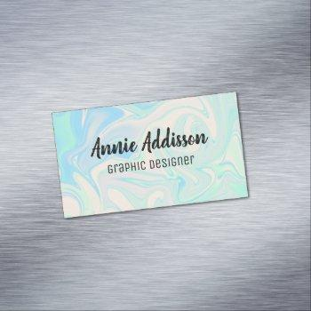 liquid faux holographic iridescent texture business card magnet