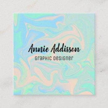 liquid faux holographic iridescent texture square business card