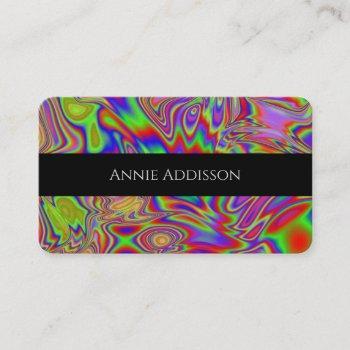 liquid iridescent rainbow texture business card