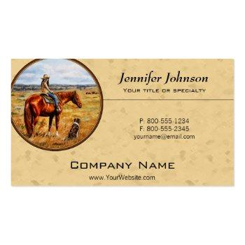 Small Little Cowgirl On Cattle Horse Yellow Business Card Magnet Front View