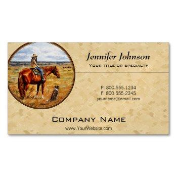 little cowgirl on cattle horse yellow business card magnet