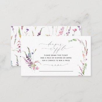 little wildflower floral baby shower diaper raffle business card