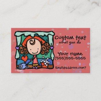 littlegirlie promotes her cleaning business! rose business card