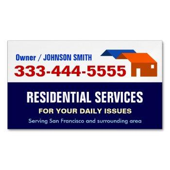 local emergency housing and residential services business card magnet