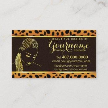 loctician hair braider salon business card